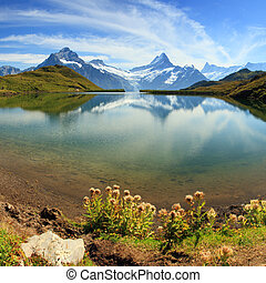 Beautiful lake with swiss mountain reflection. Grindelwald