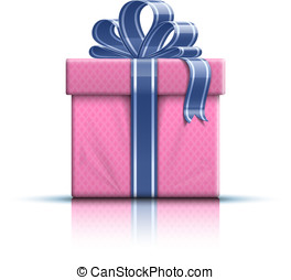 Pink gift box with ribbon and bow - Valentine gift box with...