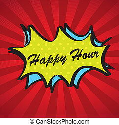 Happy hour over boom background vector illustration
