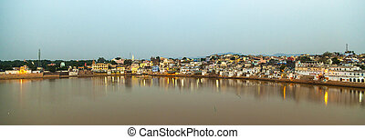ghats in Pushkar with lake view in early morning