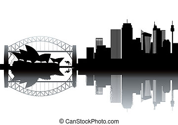 Sidney skyline - black and white vector illustration