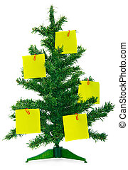 Christmas fur-tree with notes on white background