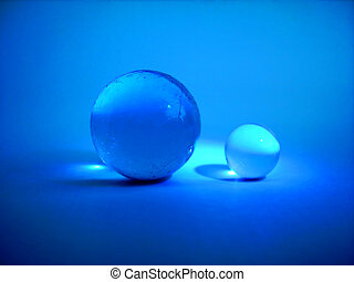 Glass ball - Two blue glass balls