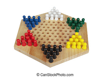 chinese checkers wooden on the white background it is...