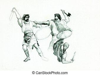 män, stridande