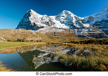 Eiger an Monch mountain panorama from kleine Scheidegg,...