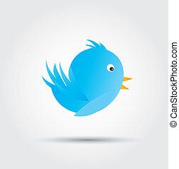 Follow me - big and blue bird over white background vector...