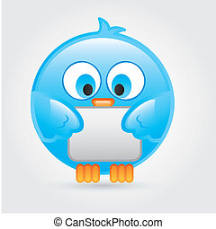 Follow me - Big and comic bird over white background vector...