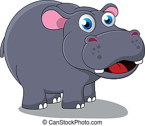 Happy Cute Hippo - Vector Illustration Of Happy Cute Hippo