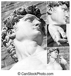 sculpture of David by Michelange - collage with details of...