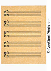 Music Sheet, Key of A - Key of A in 4/4 time blank music...