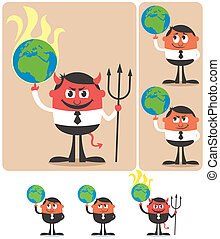 Owning Earth - Conceptual illustration of cartoon character...