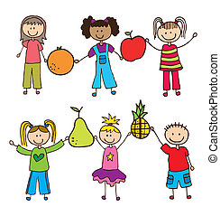 kids and fruits - chidlren with fruits background. vector...