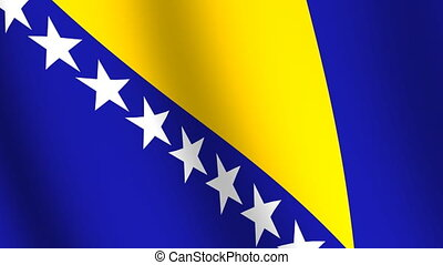 Waving flag of Bosnia and Herzegovina