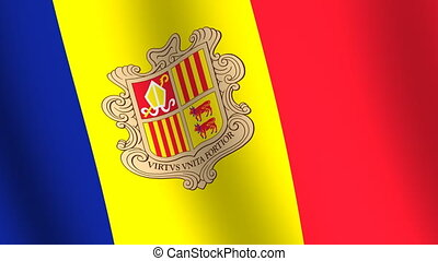 Waving flag of Andorra