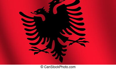 Waving flag of Albania