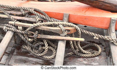 Detail of a viking ship - Detail of a replica of a viking...