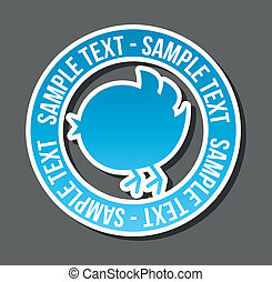 blue bird with bubble thought over white background vector