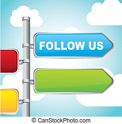 follow us sign street over sky background vector...
