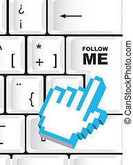 follow me sign, over keyboard with cursor hand vector