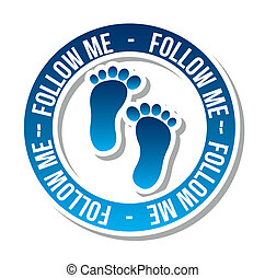 follow me icon with footprints vector illustration