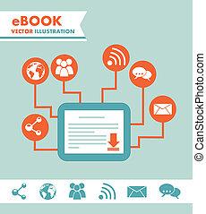 ebook download over blue background. vector illustration