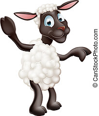 Sheep waving and pointing - Illustration of a cute sheep or...
