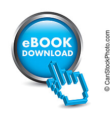 ebook button with cursor hand. vector illustration