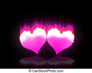 Flaming hearts - Two red hearts burning for love and passion