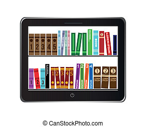 e-book library concept over gray background vector...