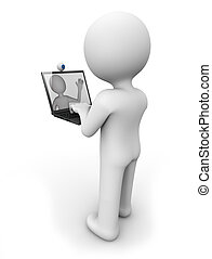 videoconference - render of a man with a laptop doing a...