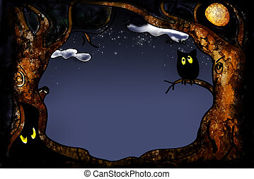 halloween series - cartoon tree frame