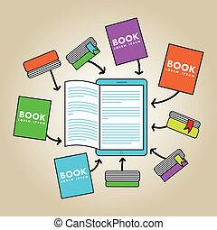 ebook download over beige background. vector illustration