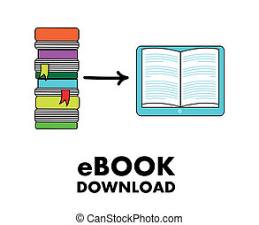 ebook download over white background vector illustration