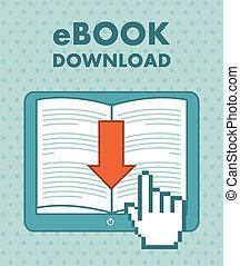 ebook download over vintage background. vector illustration