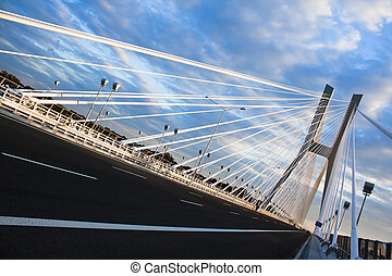 Redzin bridge - Modern bridge in Poland Blue sky
