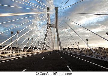 Redzin bridge - Modern bridge in Poland. Blue sky.