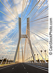 Redzin bridge - Modern bridge in Poland. Blue sky.