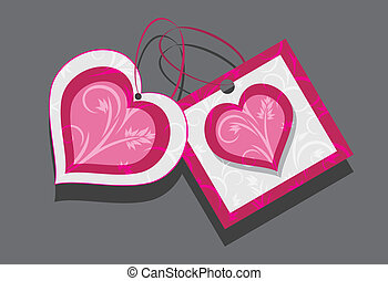 Ornamental hearts. Two tags