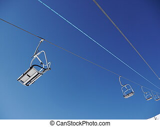 ski lift outside  winternature and sport background