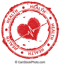 Red grunge stamp with heart and ecg