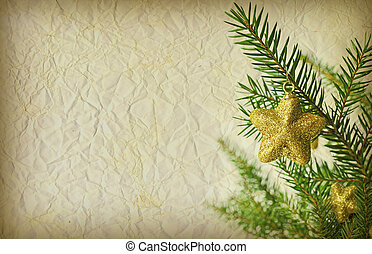 Grunge Christmas background with christmas tree branch