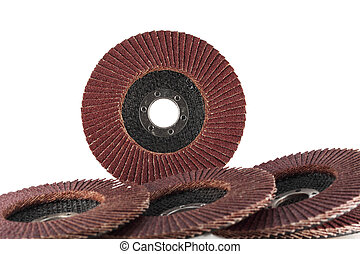 Abrasive flap discs. - Flap abrasive wheels on white...