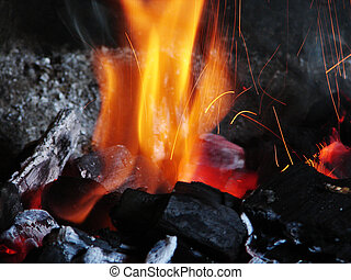 Burning coals - Birch coals burn with a bright flame
