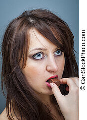 Sexy girl with a chocolate - An image of Sexy girl with a...