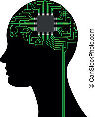 head electronic - illustration of head with microchip and...