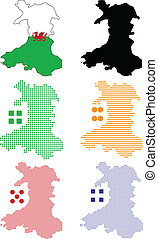Wales - Vector illustration pixel map of Wales.