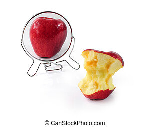 Metaphor for eating disorder - Fat and slim apple in mirror...