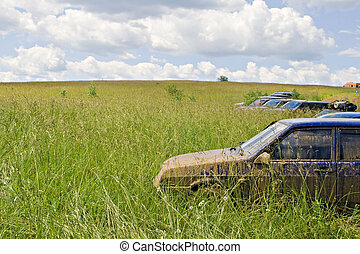 Muddy journey - A dirty car standing in a green field