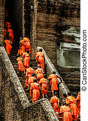 Monks in Ayutthaya, Thailand